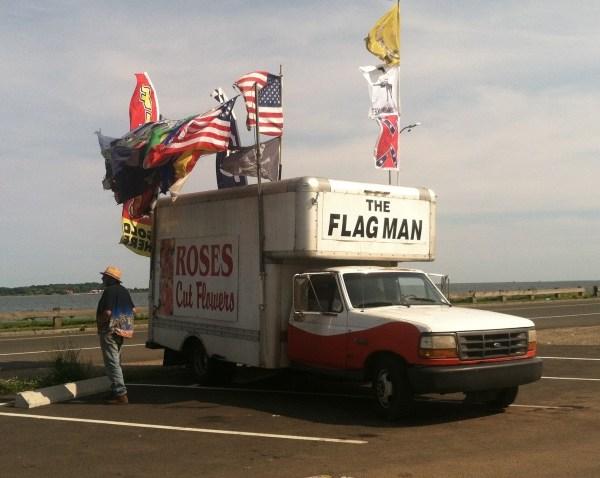 Long Wharf New Haven flag man Bill Shields_138084