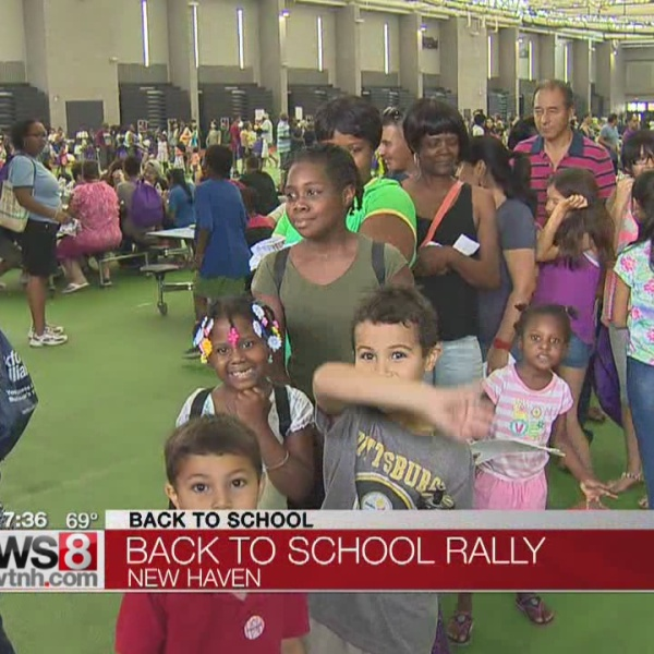 Backpacks giveaway in New Haven