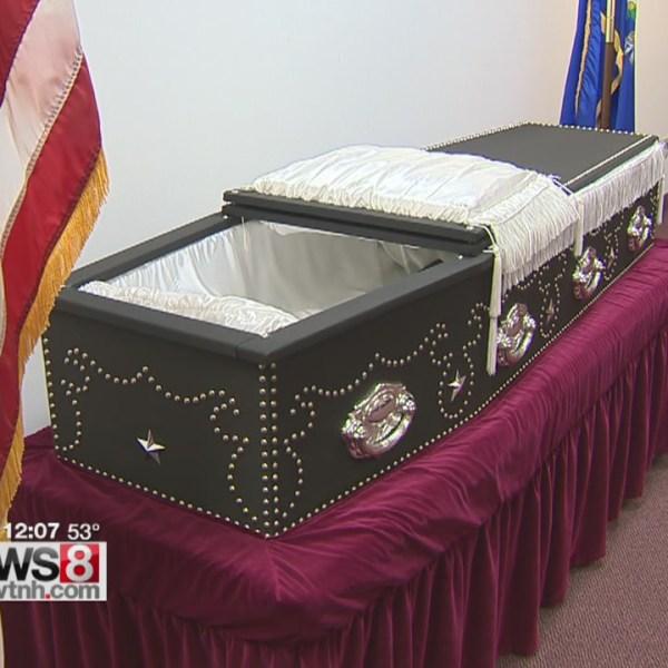 Replica of Lincoln's coffin at Wallingford Senior Center