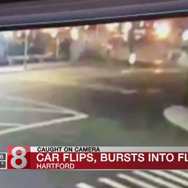 3 young males flee from stolen vehicle engulfed in flames in Hartford
