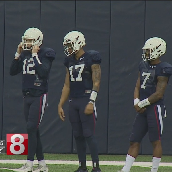 Quarterback battle the talk of UConn spring football practice