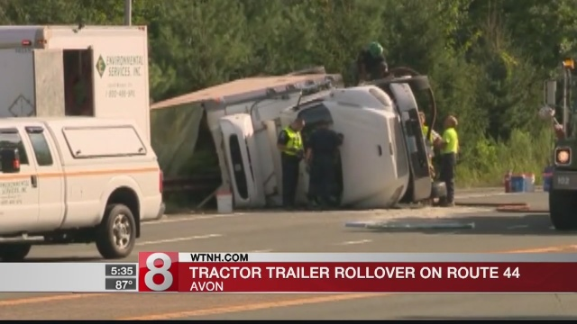 Overturned tractor trailer closes portion of Route 44 west