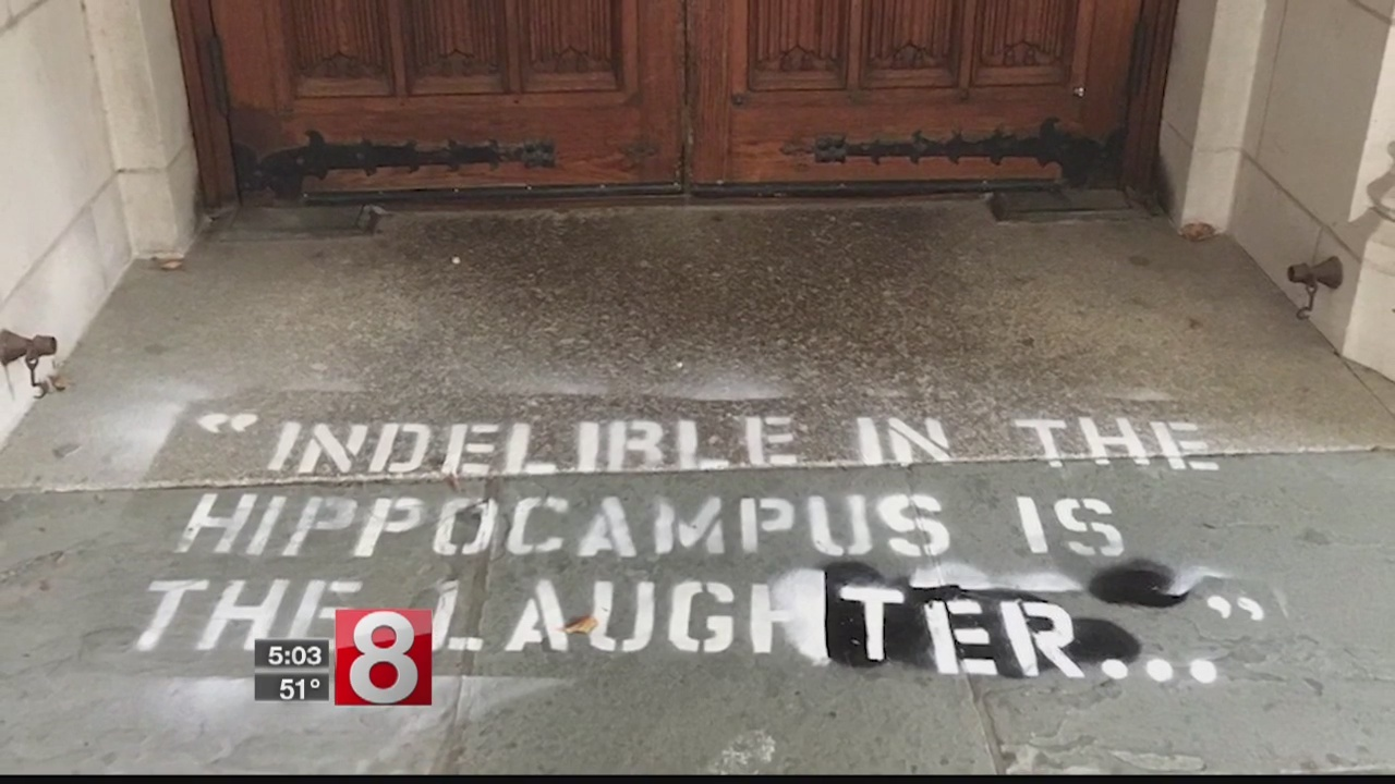Graffiti of quote from Dr. Christine Blasey Ford sprayed on Yale Law School entrance