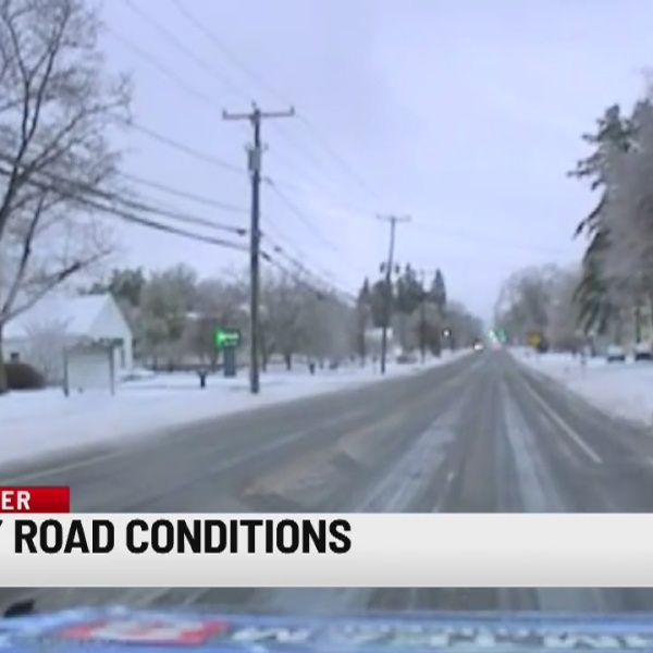 Wintry mix causing slippery roadway conditions Sunday morning