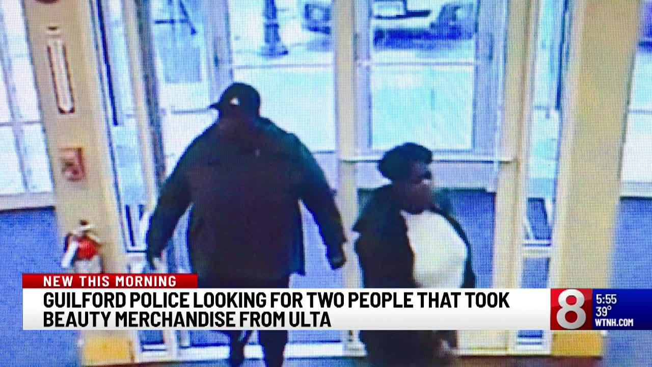 Police are searching for the two people who allegedly stole from a Guilford Ulta on Thursday afternoon.