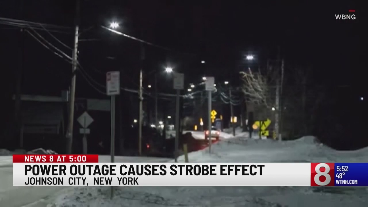 Street lights flicker like strobe lights due to New York outage