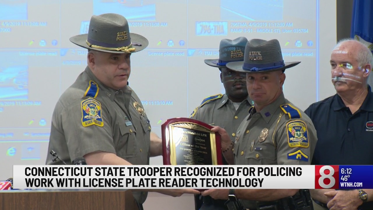 Connecticut State Trooper honored for using license plate