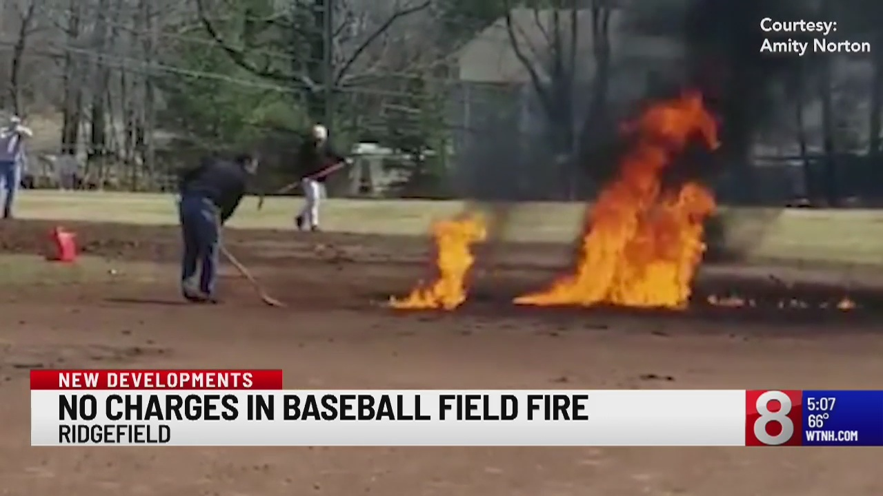 Ridgefield officials no longer looking to press charges after baseball field fire