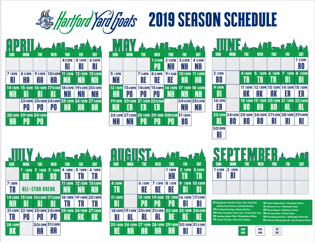 graphic regarding Phillies Schedule Printable referred to as Hartford Backyard Goats 2019 period agenda