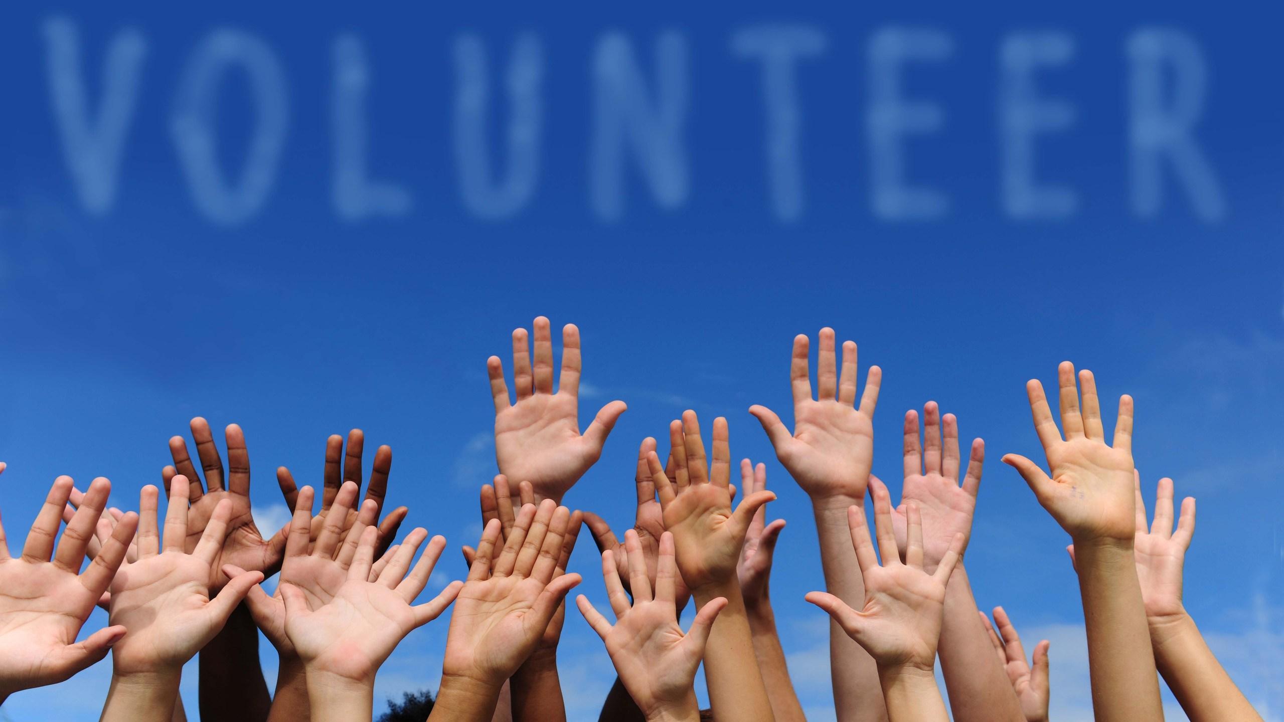 volunteer group raising hands against blue sky background_1554207438188