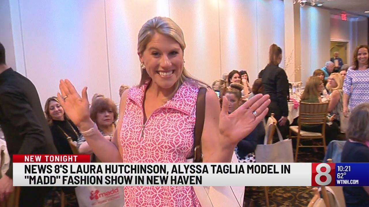 News 8's Laura Hutchinson, Alyssa Taglia model in