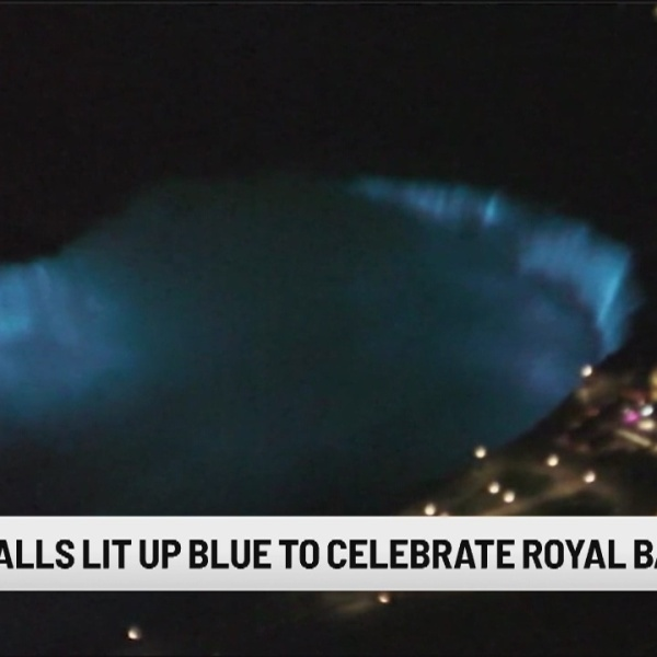 Niagara Falls lights up blue in celebration of royal baby