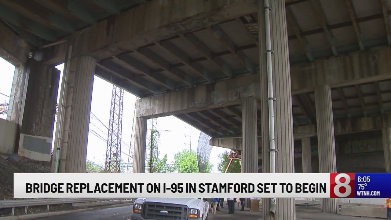 Route 1 bridge replacement project over I-95 in Stamford