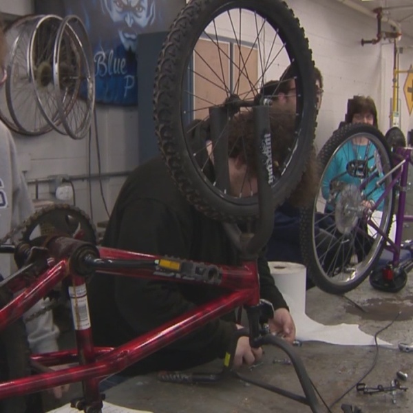 What's Right with Schools: Plainville High School rebuilding bikes