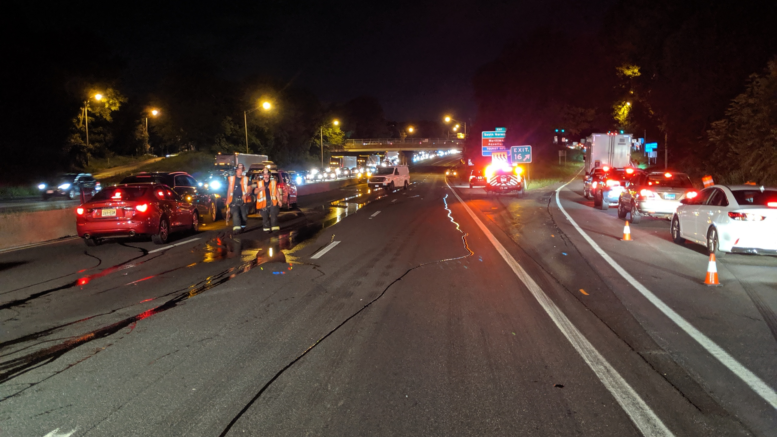 Westport accident with double car fire sends 8 to hospital