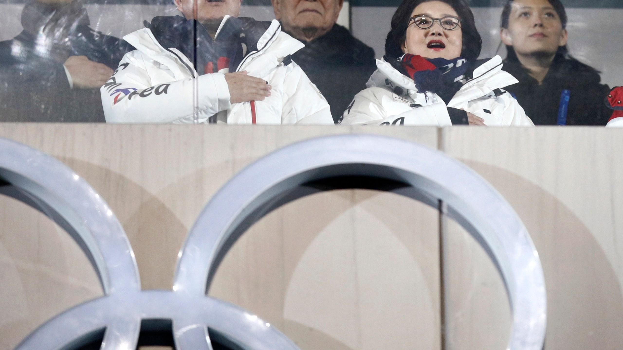 Kim Yo Jong, Kim Yong Nam, Moon Jae-in, Kim Jung-sook