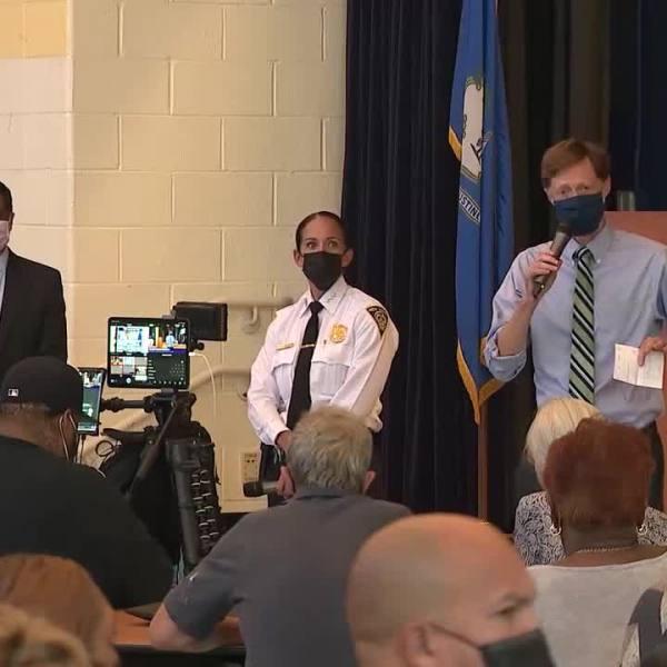New Haven Police Renee Dominguez, Mayor Justin Elicker